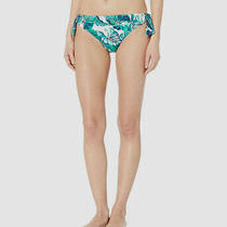 154 Tommy Bahama Womens Blue Floral Stretch Reversible Bikini Bottom Swimsuit L Photo