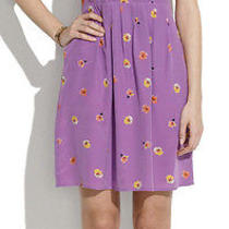155 Madewell Pleated Silk Dress in Pansy Sz 14 Item 42036 Bright Hyancinth Cute Photo