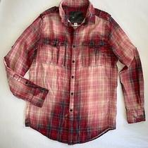 155 Nwt Joe's Jeans the Shirt Red Plaid Distressed Relaxed Anthropologie Sz Xs Photo