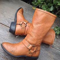 158 Frye Girls Phillip Harness Tall Cognac Pebbled Leather Zip Up Boots 1 Photo