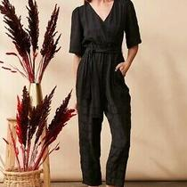 158 Nwt Sz L Black Dolan Maia Surplice Left Coast Jumpsuit Anthropologie Romper Photo