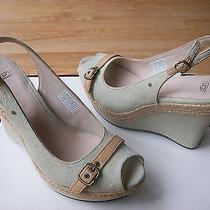 159 Ugg Noella Sandals Espadrille Wedge Platform Denim Signature 11 New Photo