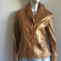 1595  Nwt St. John Collection Tuscan Gold Leather Jacket Sz. 4 Photo