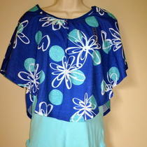 16 Justice Blue Butterfly Double Top Tank Aqua New Photo