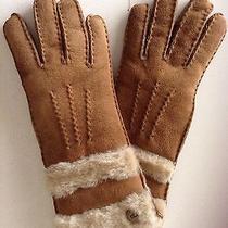 160  Women's Ugg Australia 'Classic' Genuine Shearling Gloves Sz S  Chestnut Photo