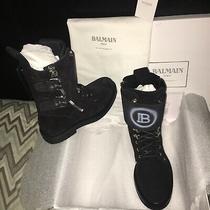 1600 Balmain New W/everything Black Lambskin Suede Industrial Boot Men 42 Women Photo