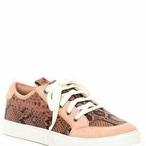 168 Donald Pliner Blush Suzie Snake Print Leather Lace-Up Sneakers Size 10m Photo