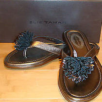 168 Elie Tahari Womens Laurel Thong Leather Sandals Shoes Size 37 7 Nwb Photo