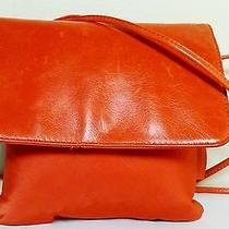 168 Hobo International Small Orange Nylon & Leather Cross-Body Shoulder Bag Photo