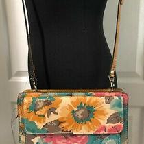169 Patricia Nash Azario Floral First Bloom Leath Crossbody Wallet Purse Pink N Photo