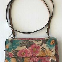 169 Patricia Nash Azario Floral First Bloom Leather Crossbody Wallet Purse Pink Photo