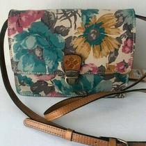 169 Patricia Nash Laurentina First Bloom Floral Leather Crossbody Handbag Photo