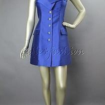 1695 New Stella Mccartney Blue Strapless Raw Silk Long Top Mini Dress 10 44 Photo