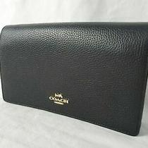 175 New Coach Women's Leather Black Crossbody Foldover Clutch Bag Photo