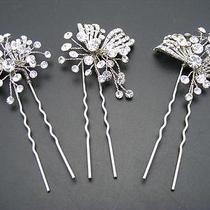 175 Nina Gwenyth Set of 3 Swarovski Crystal Hairpins Silvertone Photo