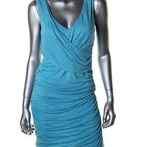 178 Elie Tahari (Sz-l) Womens Christie Teal-Blue Casual Gathered Dress New Photo