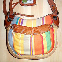 178 Fossil Small Yellow Orange & Blue Canvas & Tan Leather Shoulder Bag Photo
