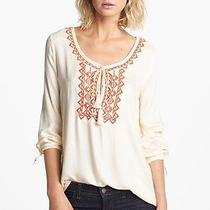 178 Soft Joie  'Calathia' Embroidered Tunic in Vanilla & Pureed Pumpkin (S) Photo