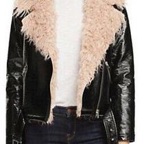 178 Sunset  Spring Black Faux Patent Leather Blush Fur Moto Jacket Size Medium Photo