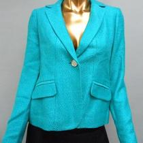 179.00 Nwd Ak Anne Klein Plush Tweed 1 Button Blazer Aqua 2 Petite Photo