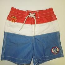 18-24 Baby Gap Nwt Junk Food Superman Striped Swim Trunks Shorts Super Hero Photo