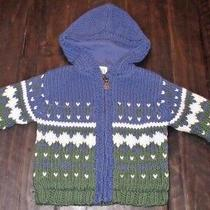 18 - 24 Months Baby Gap Blue Green Wool Thick Knit Lined Zip Up Hooded Sweater Photo