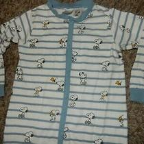 18-24m 2t h&m Peanuts Snoopy Cotton Snap Footed Sleeper Pajamas Stretchie Photo