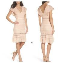 180 Foxiedox Makayla Flutter Trim Lace Blush Pink Ruffle Hem Sheath Midi Dress Photo
