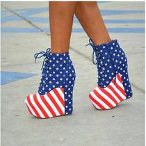 182 Jeffrey Campbell Damsel  Stars & Stripes Platform Wedge Boot Women's 7 1/2 Photo