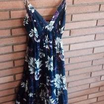 185 Yumi Kim 100% Silk Spaghetti  Strap Dress Size S Blue Floral Euc Photo
