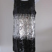 187 Aqua Bloomingdales Colorblock Sequin Black/silver Dress- Sz L- Excellent Photo