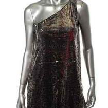 188 Nwt Aqua Black Mesh Sequined One Shoulder Mini Clubwear Dress 4 Photo