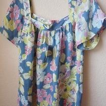 188 Nwt Sz M Joie Evan Silk Blouse Top in Surf Floral Gorgeous New Photo