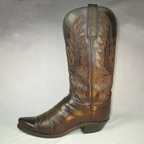1883 Lucchese Brown Leather Gold/blk Stitch Womens Riding-Heel Western Boots 7b Photo