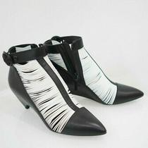 1885 Balenciaga Leather Black White Heels Shoes Booties Sz 41-Italian 10 Us Photo