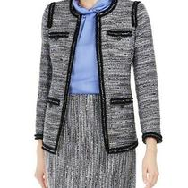 189 Anne Klein Women's Gray Printed Blazer Jacket Contrast-Trim Tweed Size 8  Photo
