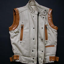 1890 Dsquared Very Rare Vest White Tufted Perfecto Leather Jacket  M S 48 46 36 Photo