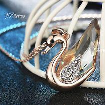 18k Rose Gold Gf Swarovski Crystal Swan Pendant Necklace Photo