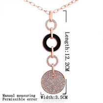 18k Rose Gold Gp Crystal Circles Long Lady Sweater Chain Necklace 32'' Ym003 Photo