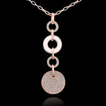 18k Rose Gold Gp Crystal  String Circle Lady Sweater Chains/necklace 32'' Zm002 Photo