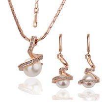 18k Rose Gold Gp Eddy With Crystal Pearl Fancy Lady's Earringsnecklace Set S040 Photo