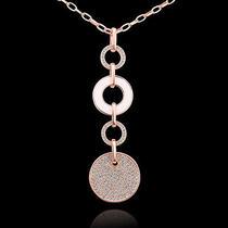 18k Rose Gold Gp Swarovski Crystal Circle Lady Sweater Chain Necklace 32