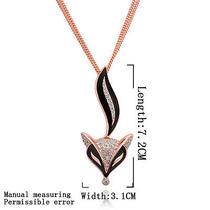18k Rose Gold Gp Swarovski Crystal Fox Lady's Sweater Chains Necklace 32