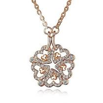 18k Rose Gold Plated Crystal Necklace Heart  Flower Adjustable Pandent N1065 Photo