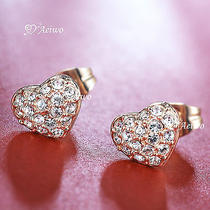 18k Rose White Gold Gf 18ct Genuine Swarovski Crystal Heart Stud Earrings Photo
