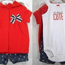 18m Carter's Baby Girls 3pc Set Red Hoodie White Bodysuit & Star Print Short Photo