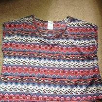 19.99 Nwt Charlotte Russe Multi Color Aztec Tribal Crop Top Size Large Photo