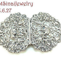 1900's Sterling Silver Two-Piece Ladies Belt Clasp Buckle Birds Flowers Vines  Photo