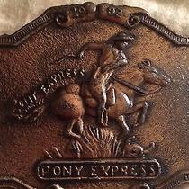1902 Pony Express Brass Belt Buckle - 3 1/2