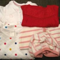 190660 Girl's 3-6 Months Baby Gap 4 Pc Velour Knit Woven Jacket Dress Top Romper Photo